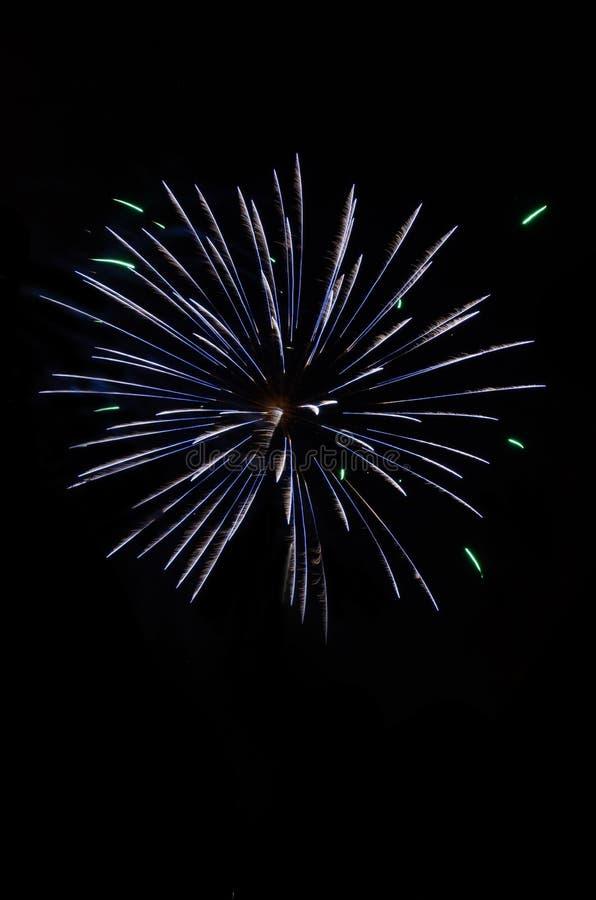 Feux d'artifice de explosion dans le ciel nocturne images libres de droits
