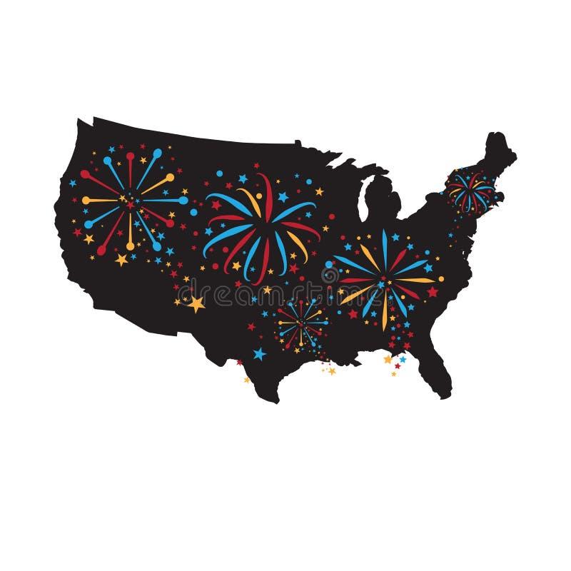 Feux d'artifice de Jour de la Déclaration d'Indépendance de l'Amérique illustration libre de droits