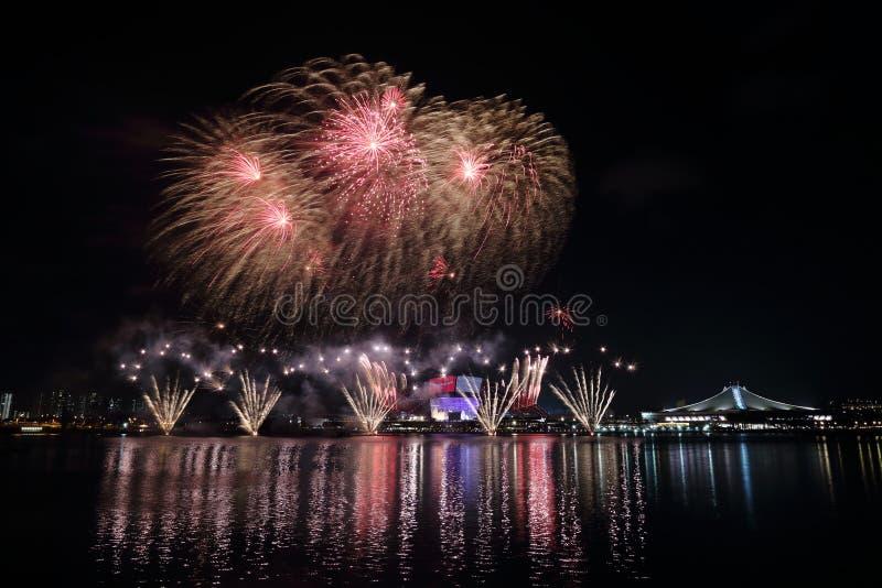 Feux d'artifice de jour national de Singapour 2016 6 photographie stock