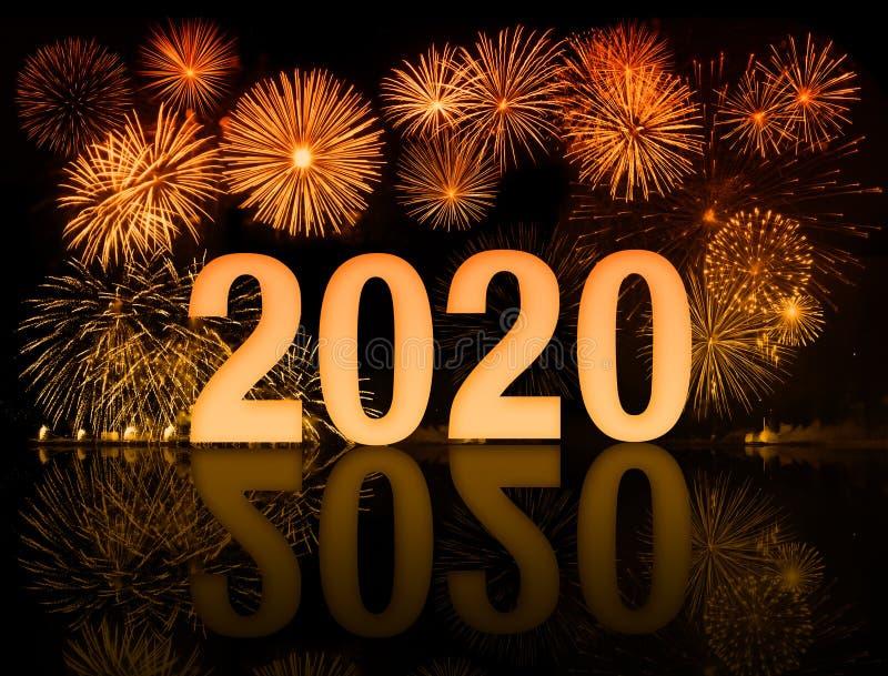 Feux d'artifice de la nouvelle année 2020 image stock
