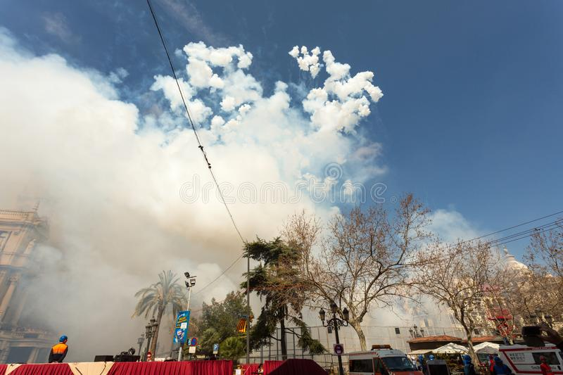Feux d'artifice de Las Fallas images libres de droits