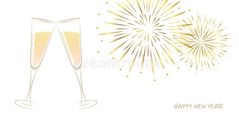 Feux d'artifice de nouvelle année et verres d'or de champagne sur un fond blanc illustration libre de droits