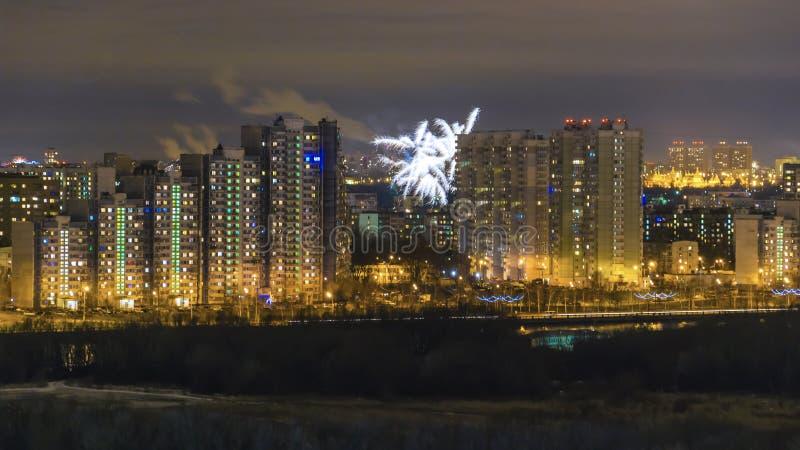 Feux d'artifice de nuit à Moscou photos libres de droits