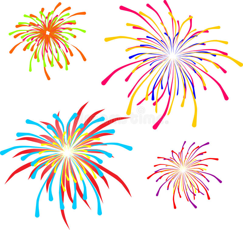 Feux d'artifice de vacances, illustrations de vecteur illustration stock