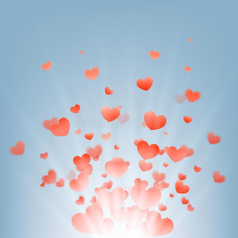 Feux d'artifice des coeurs sur un fond bleu, illustration libre de droits