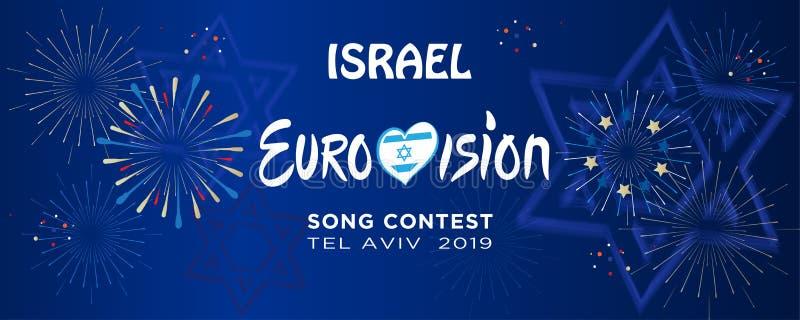 2019 feux d'artifice internationaux abstraits Israël de festival de musique de concours de chanson d'Eurovision illustration de vecteur