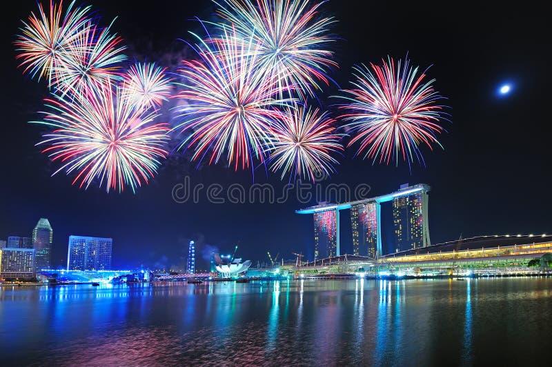 Feux d'artifice - Jeux Olympiques de la jeunesse de Singapour images libres de droits