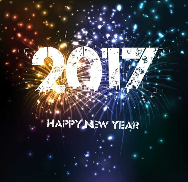 Feux d'artifice pendant la bonne année 2017 image libre de droits