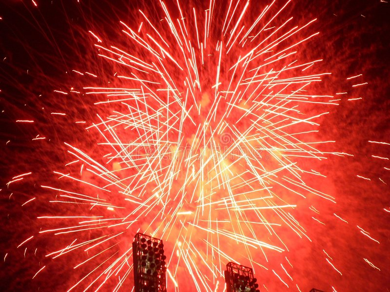 Feux d'artifice - rouge images stock