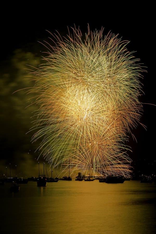 feux d'artifice Vancouver d'or photographie stock