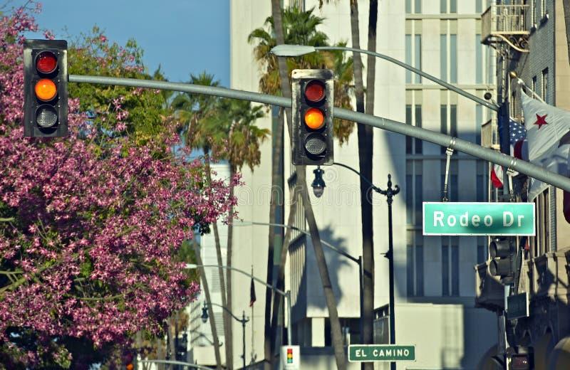 Feux de signalisation de Rodeo Drive photos stock