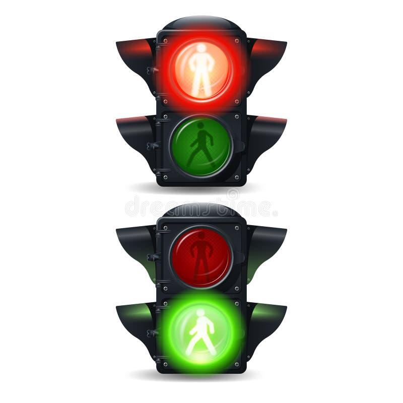 Feux de signalisation piétonnière réglés illustration de vecteur