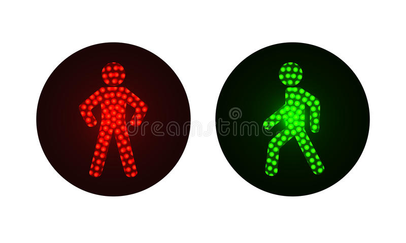Feux de signalisation piétonnière rouges et verts illustration de vecteur