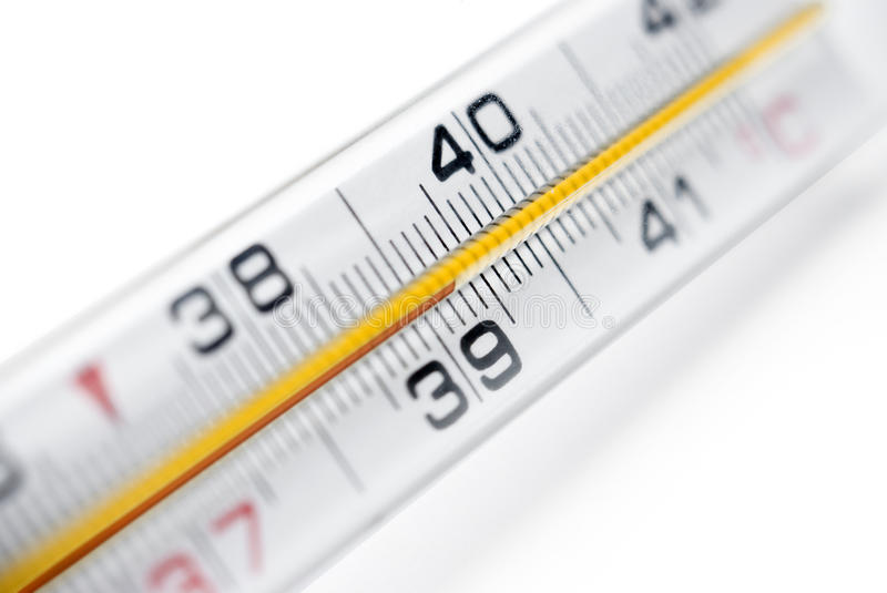 Fever. Close-up image of a thermometer showing high body temperature. Fever/Illness concept royalty free stock image