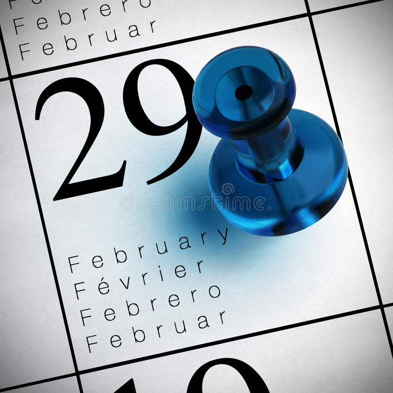 Fevereiro o 29o ilustração do vetor