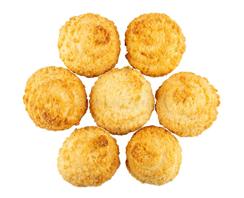 Few coconut cookies isolated on white. Top view. Few of baked coconut cookies isolated on white background. Top view stock photos