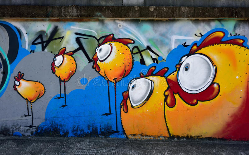 A few chicks graffiti on the cement wall. Of Honghu Park, Shenzhen, China stock photos