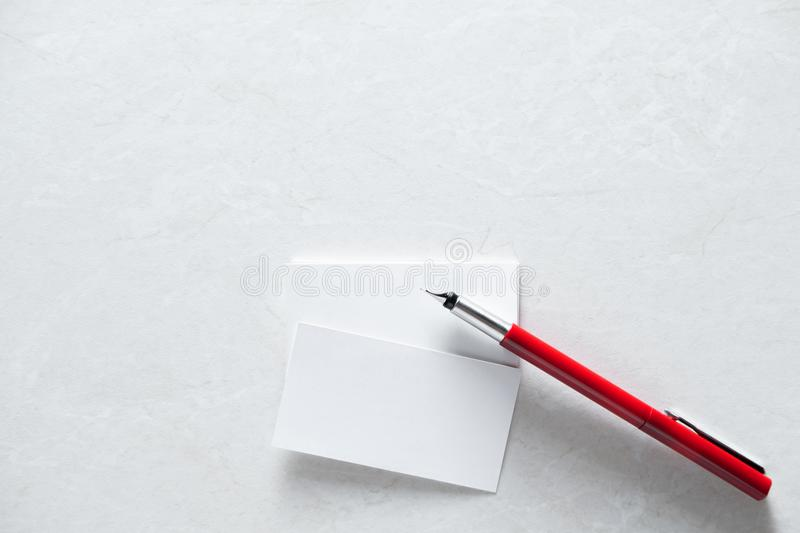 Few clean white business cards with space for text royalty free stock photos