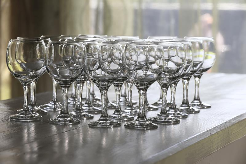A few empty glasses stock photo