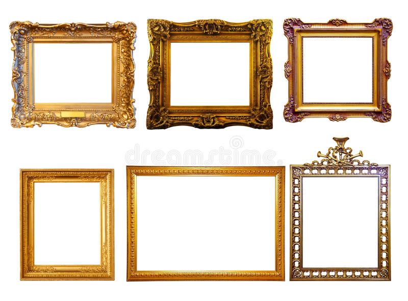 Few gilded frames. Isolated over white background royalty free stock photo