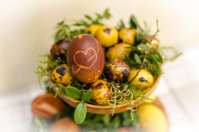 Few hand painted easter eggs royalty free stock images