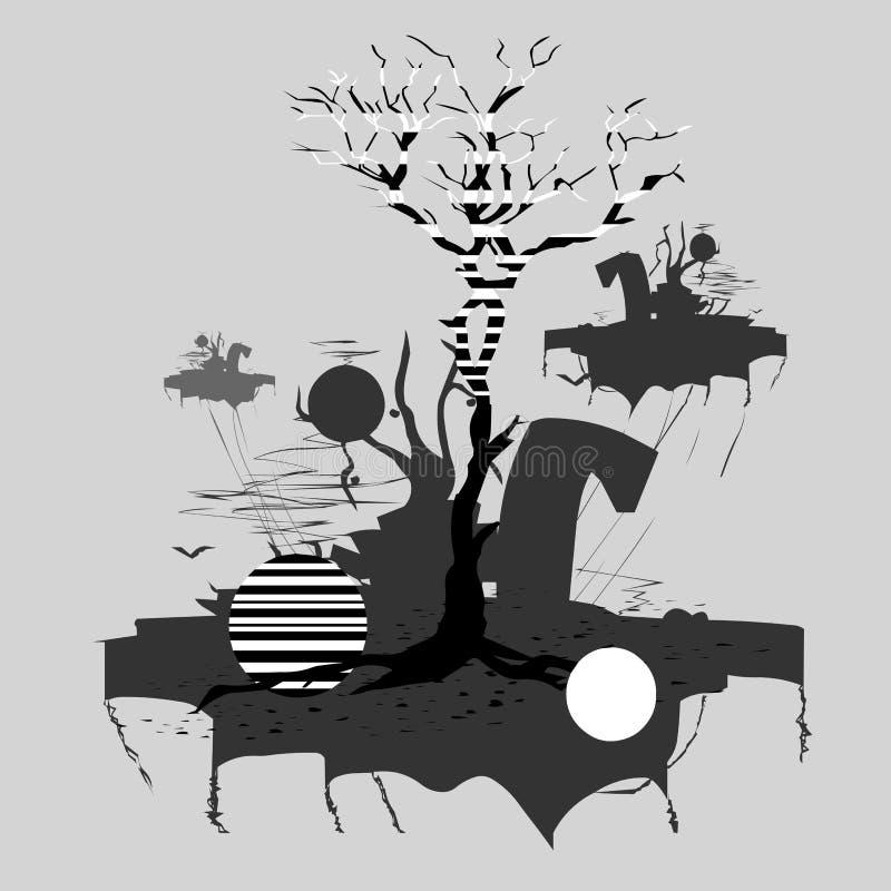 Few małe wyspy, lata przez nieba na Środkowej wyspie, ty możesz widzieć drzewa ilustracja wektor