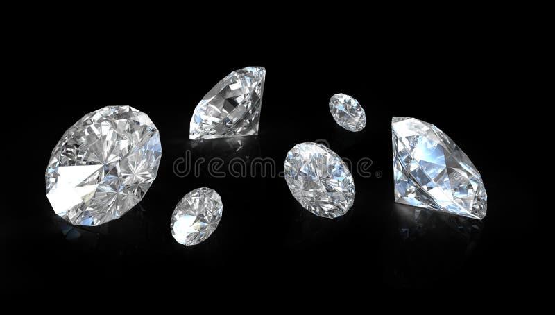 Few Old European Round Cut Diamonds Royalty Free Stock Image