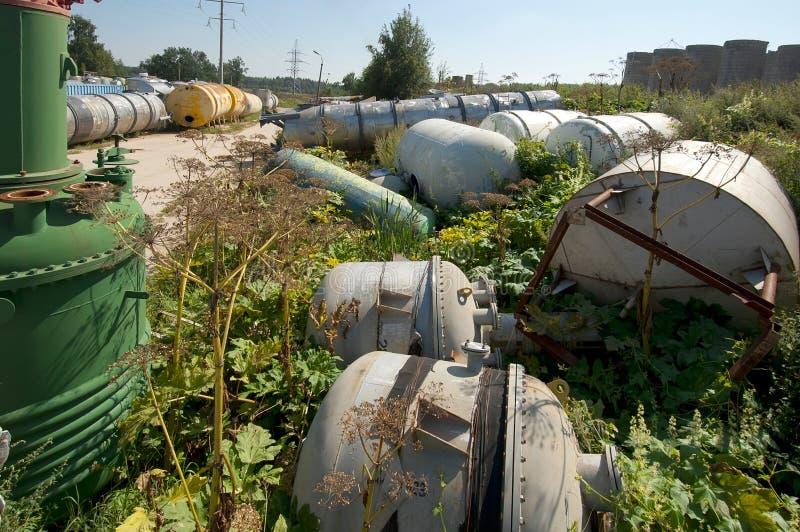Few old tanks stock photo