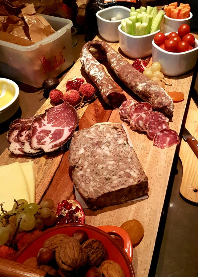 A nice coldcut platter selection from Toulouse, France royalty free stock photo