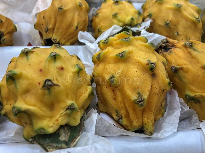 Yellow dragon fruits on a white. One of the exotic fruit. Few yellow dragon fruits on a white paper. One of the exotic fruit royalty free stock photos