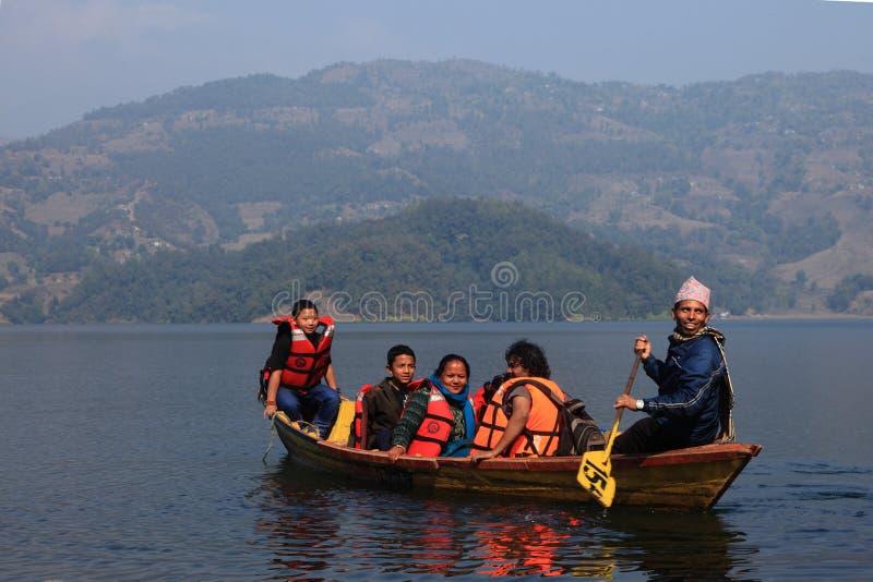 fewa湖尼泊尔pokhara 库存图片