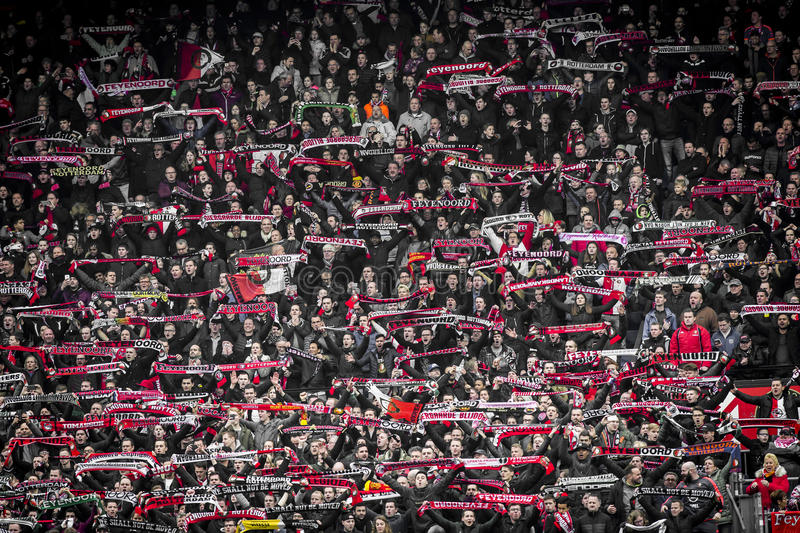 Feyenoord fans on the stands stock photos
