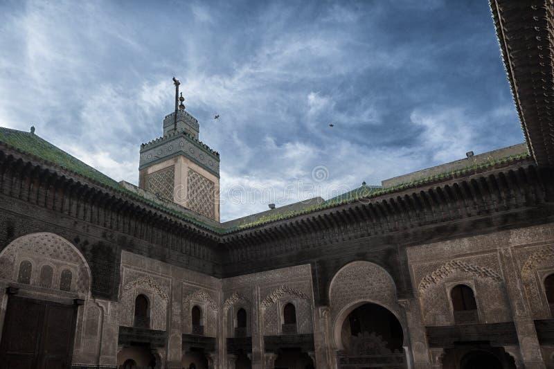 Fez/Fez Madrasa/изображение показывая сногсшибательное Madrasa в Fez Bou Inania Madrasa стоковая фотография rf
