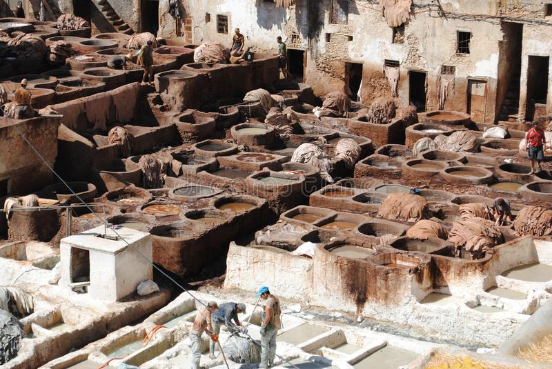 Fez Leather Tannery stock image
