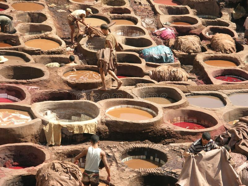 Fez, Morocco - The oldest tannery in the world royalty free stock images