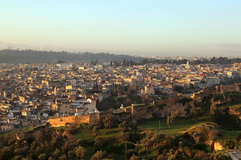 View of the Medina from the hill, where the ruins of the Merenides` tomb are preserved at dawn stock image