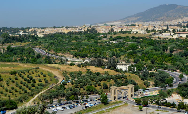 Fez. Overview of the city of Fez, Morocco stock photography