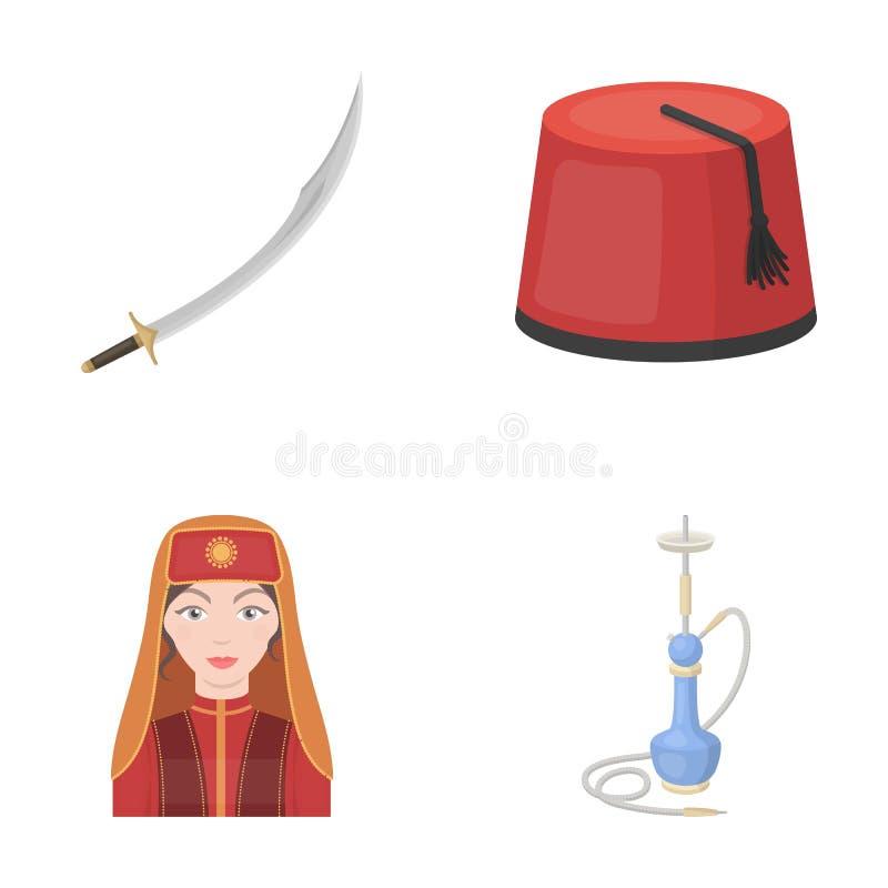 Fez turco, yatogan, turco, cachimbo de água Os ícones ajustados da coleção de Turquia no estilo dos desenhos animados vector a We ilustração royalty free
