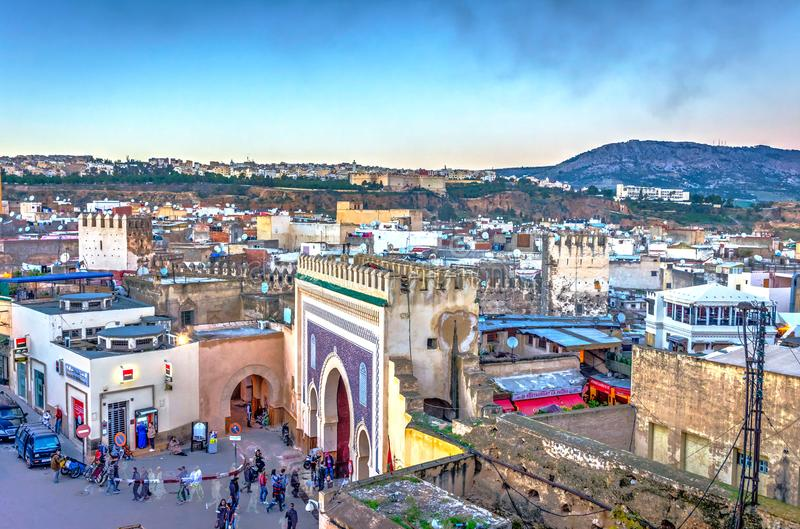Fez in twilight, Morocco royalty free stock photography