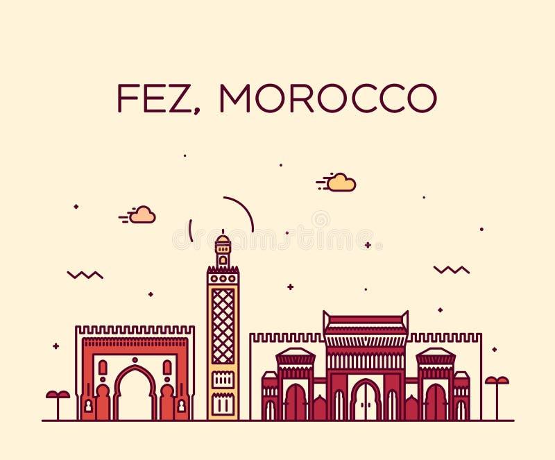 Fezu linia horyzontu Maroko Modny wektorowy liniowy styl ilustracja wektor