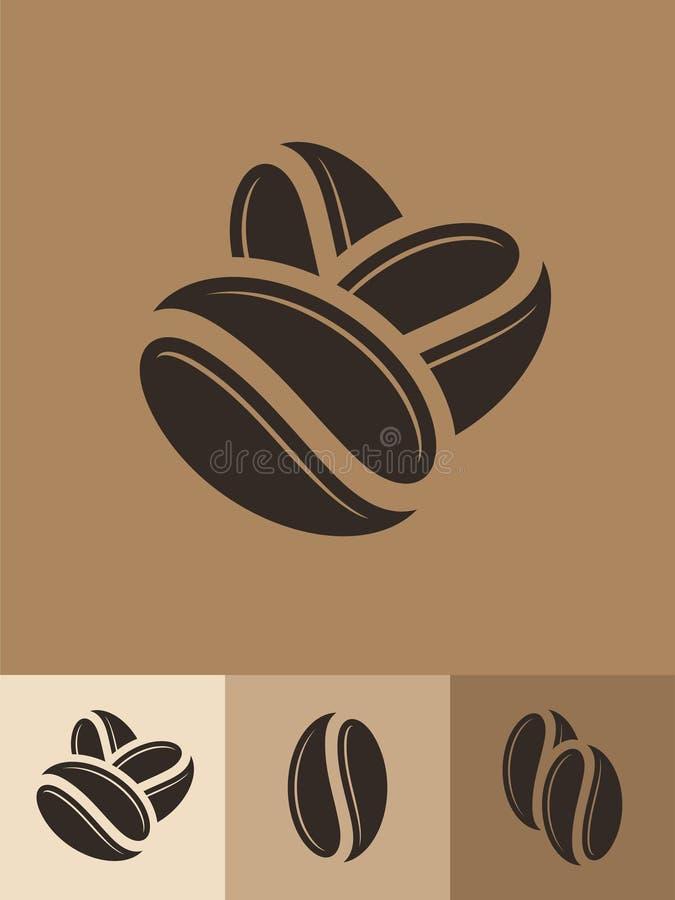 Ffee Ikona set Abstrakcjonistyczne kawowe fasole na brown tle royalty ilustracja