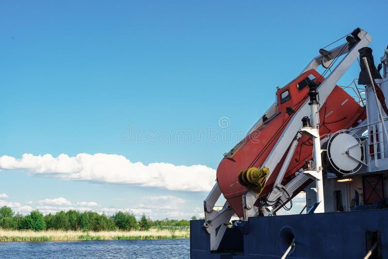 FFLB Equipo de ahorro del dispositivo Libere el bote salvavidas de la ca?da SOLAS 72 imágenes de archivo libres de regalías