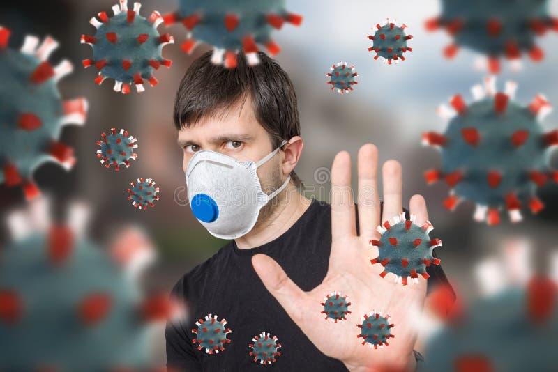 FFP3口罩护身 许多病毒 库存照片