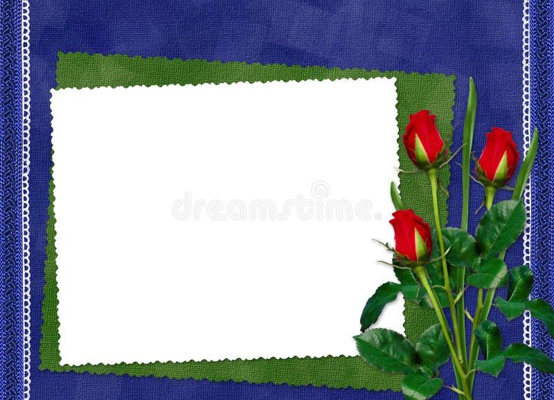 Fframe met rode rozen op de donkerblauwe achtergrond stock illustratie