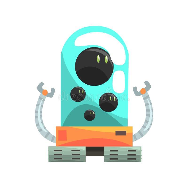 Ffunny动画片机器人与玻璃蓝色lense传染媒介例证的履带牵引装置字符 库存例证