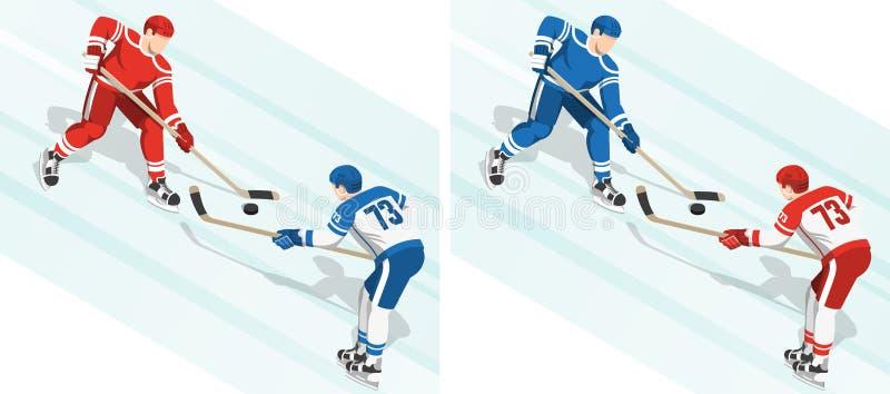 Fght dla krążka hokojowego przy mecz hokeja ilustracji