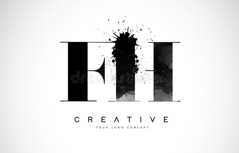 FH σχέδιο λογότυπων επιστολών Φ Χ με το μαύρο χύσιμο παφλασμών Watercolor μελανιού απεικόνιση αποθεμάτων