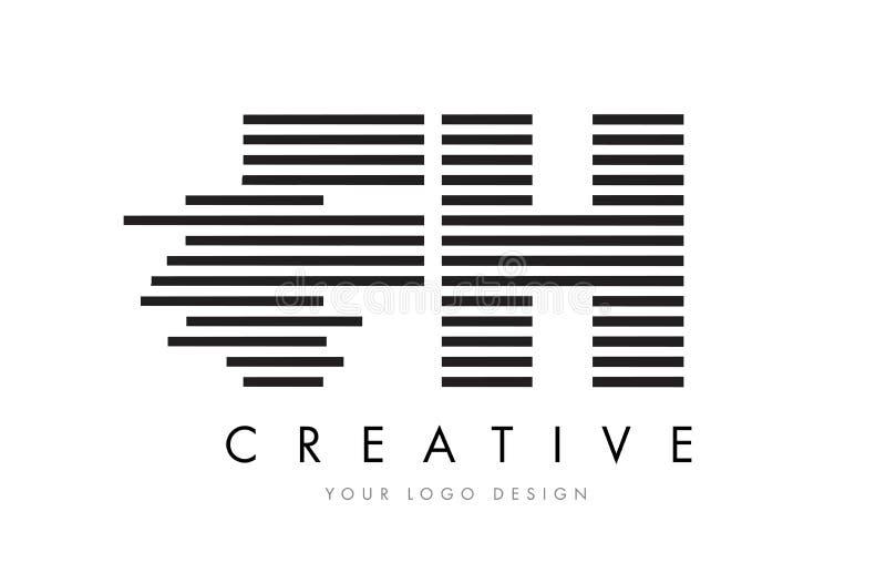 FH F H Zebra Letter Logo Design with Black and White Stripes vector illustration