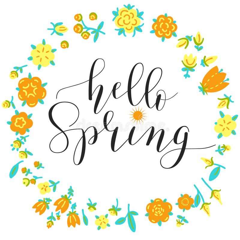 Fhrase `Hello spring!` Brush Pen lettering isolated on background vector illustration