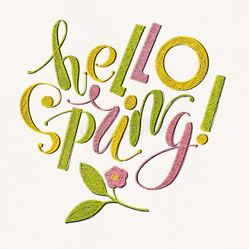Fhrase `Hello spring!` Drawing with colored pencils isolated on background royalty free illustration
